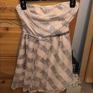 Sweetheart Neckline Tan Minidress